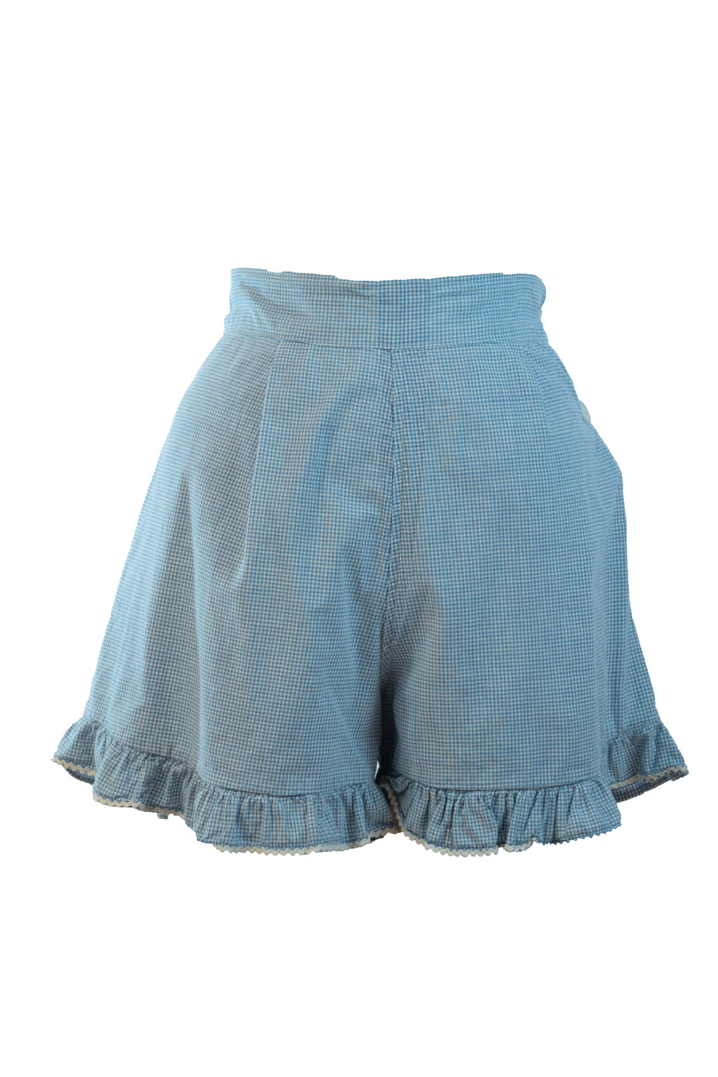 Charming 1930s Blue and White Gingham Shorts with Ruffled Hem