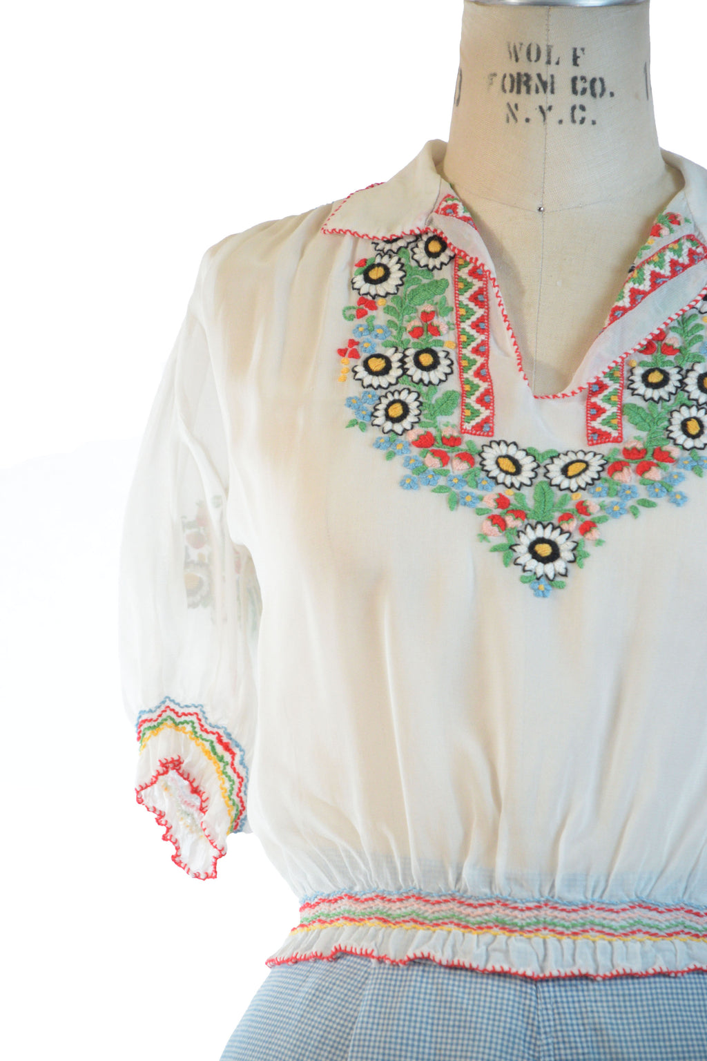 Fantastic 1940s-1960s Hungarian Peasant Blouse in Rayon Chiffon with Strawberry Motif