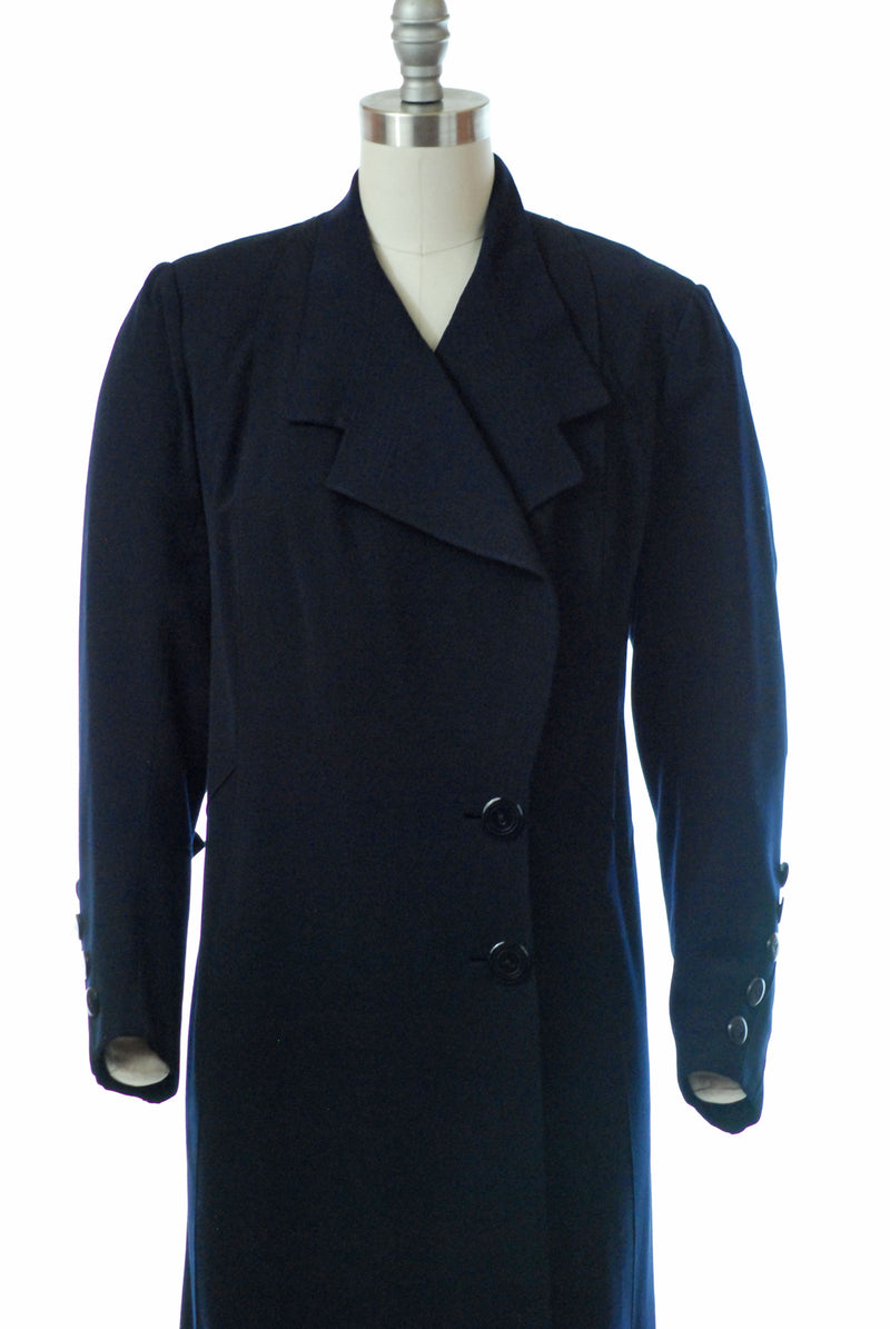 Wonderful 1930s Navy Blue Gabardine Coat with Fabulous details
