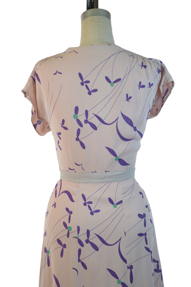 Delightful 1940s Rayon Day Dress in Cheerful Rayon Whirligig Print of Purple on Pink
