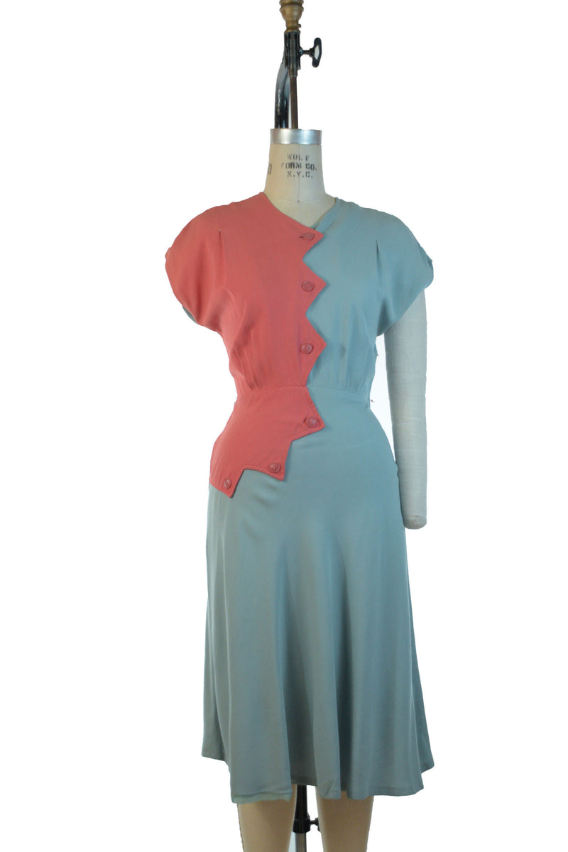 Killer 1940s Colorblock Gabardine Day Dress in Coral and Robin's Egg with Sawtooth Accent