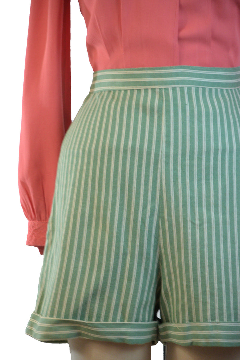 Smart 1940s Cotton Sailcloth Shorts in Green and White Stripes by 'Togs and Rigs""