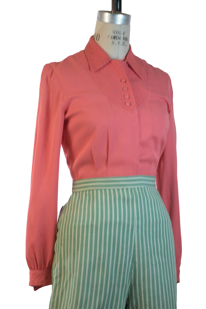 Gorgeous 1940s Coral Gabardine Blouse with Quilted Yoke and Cuffs by Joan Miller Juniors