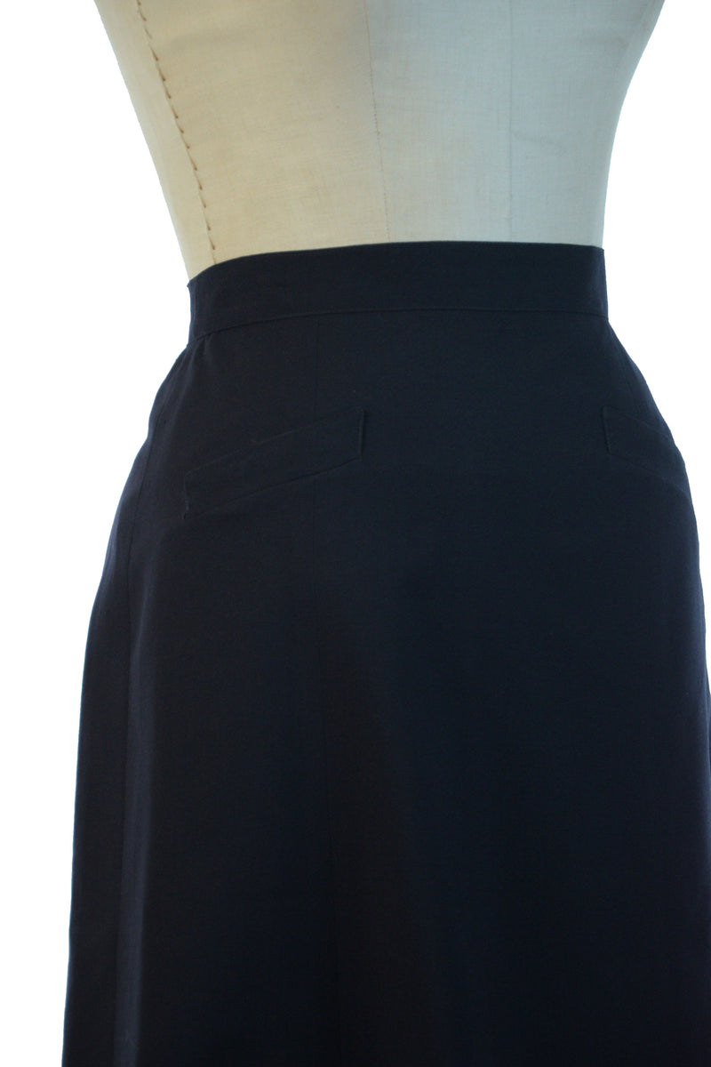 RESERVED Classic 1950s A-Line Skirt in Crisp Navy Blue Wool