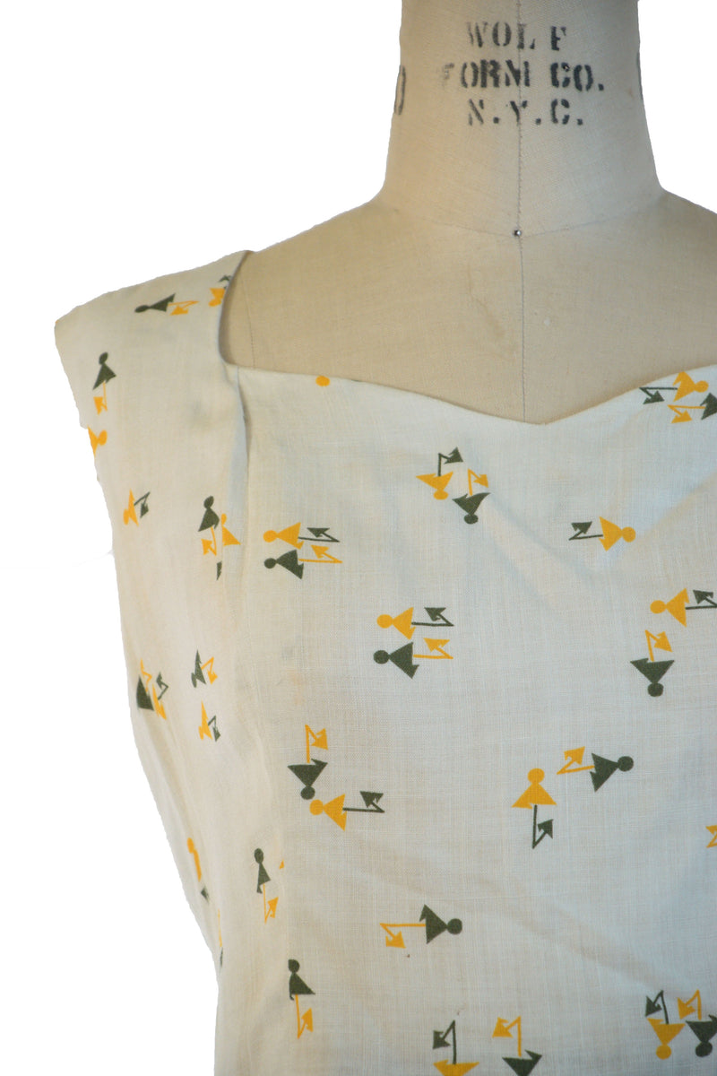 Extremely Chic Late 1950s Yellow in Canary Lining with Graphic Lining and Matching Blouse