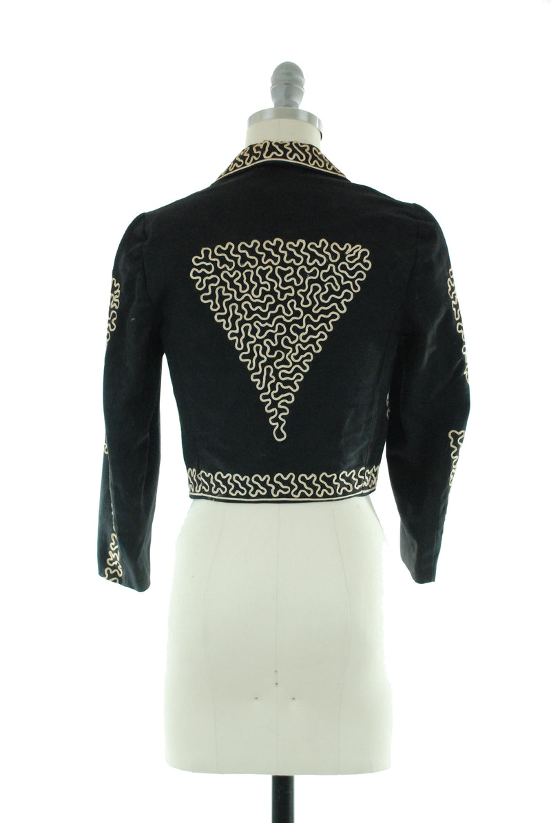 Rare 1940s Mexican Mariache Jacket with Soutache - Children's or Extra Small Women's