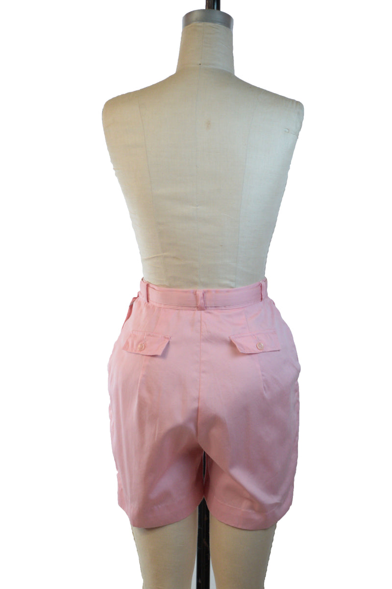 Cute 1960s Pink Jantzen Cotton Blend Camp Shorts Complete with Original Belt