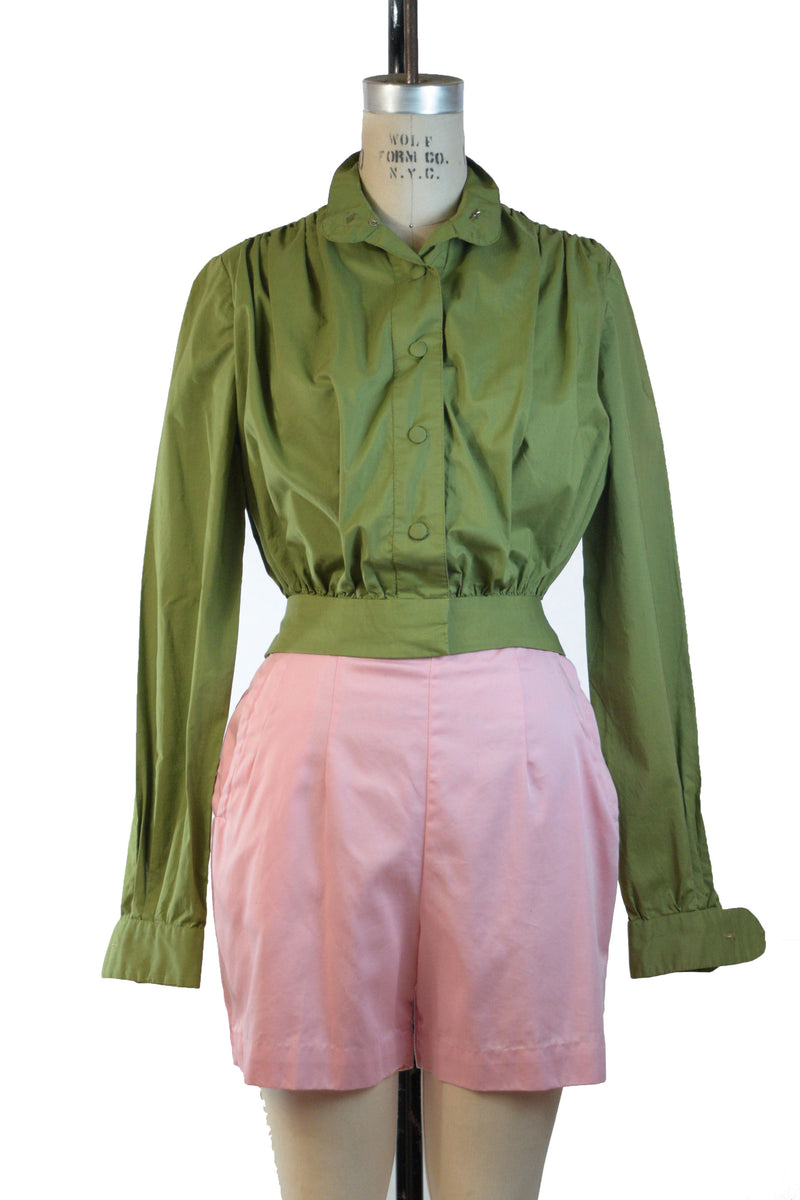 Smart 1960s Homemade Shirt Jacket in Olive Green Cotton with Bloused Silhouette and Fitted Waist