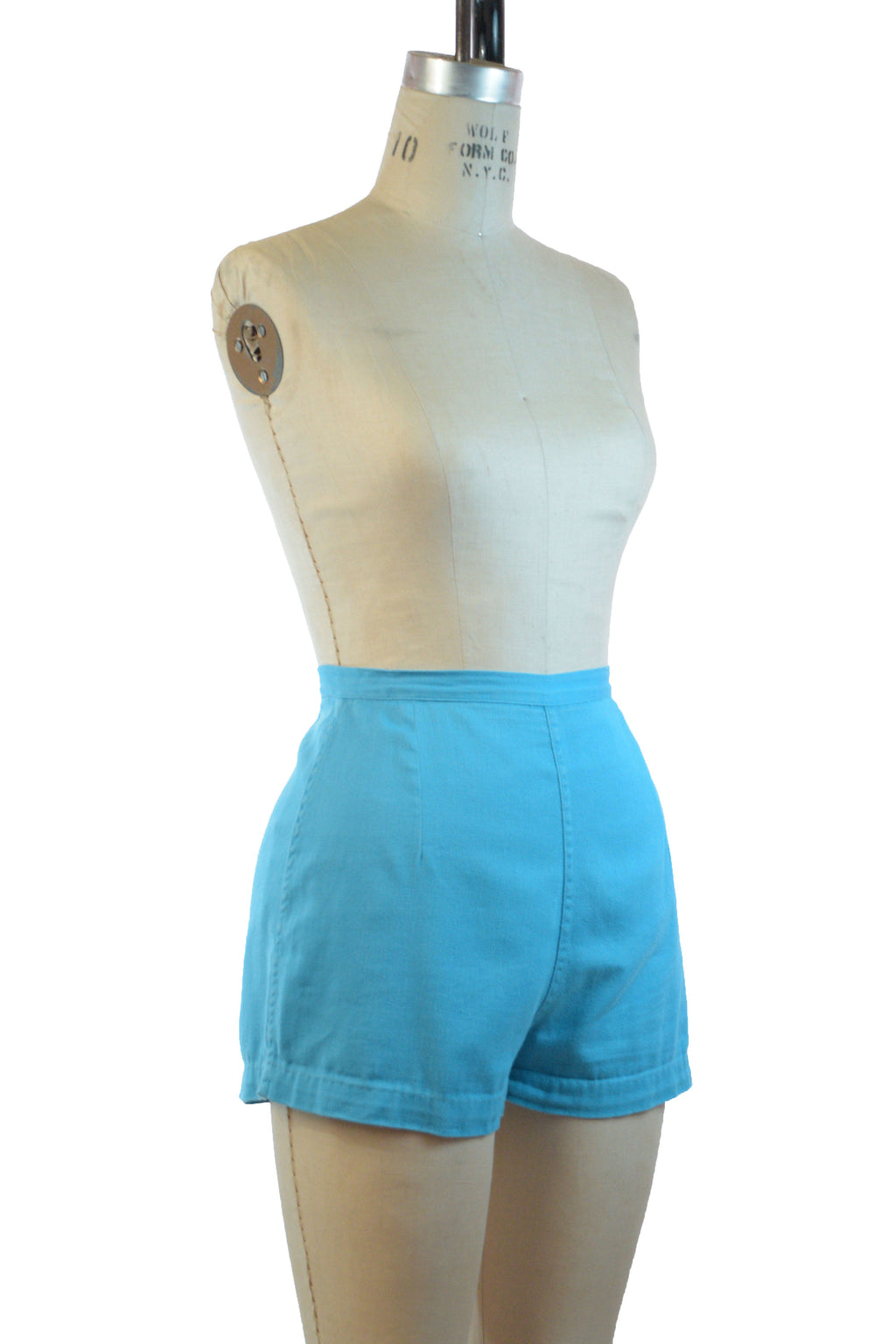 Sassy 1950s Super Short Shorts in Bright Turquoise Blue Cotton