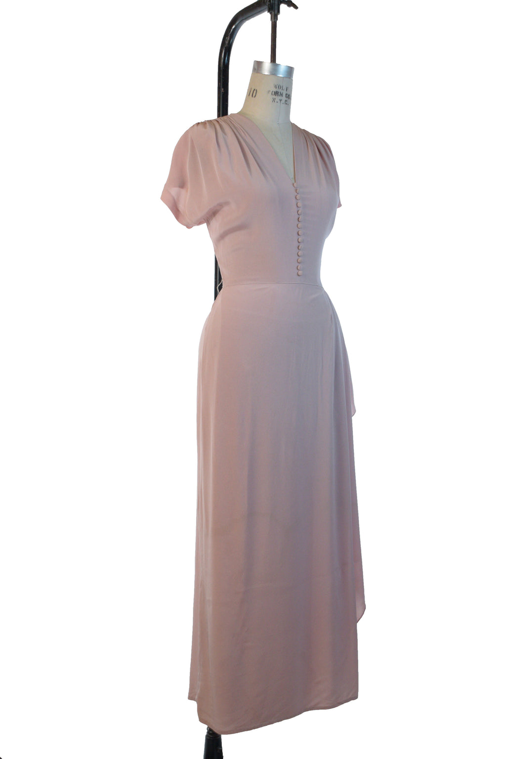 Elegant 1940s DuBarry Evening Gown in Rosy Pink with Hip Drape