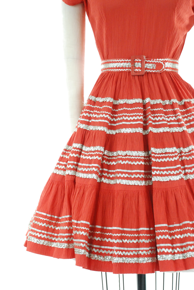 Cute 1950s Vintage Patio Dress in Saturated Coral with Silver Trim