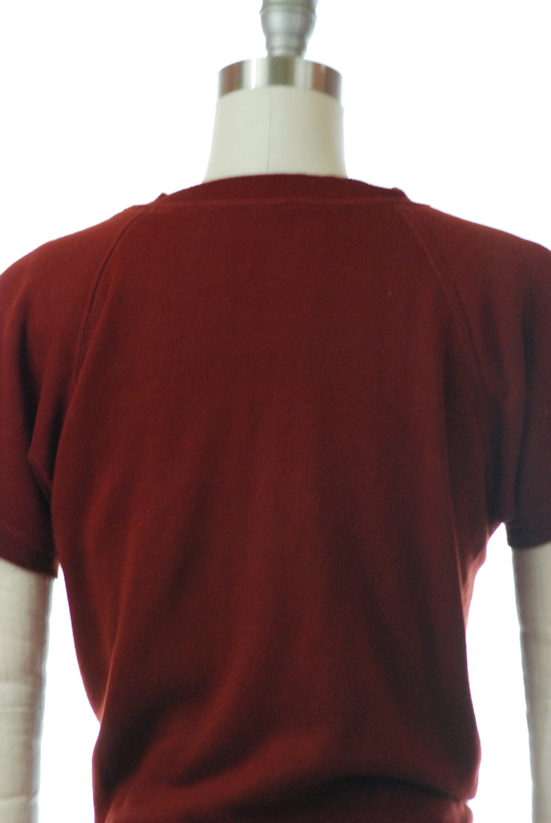 Rare 1960s Soft Minnesota Woolens Casual Sweatshirt in Deep Burgundy