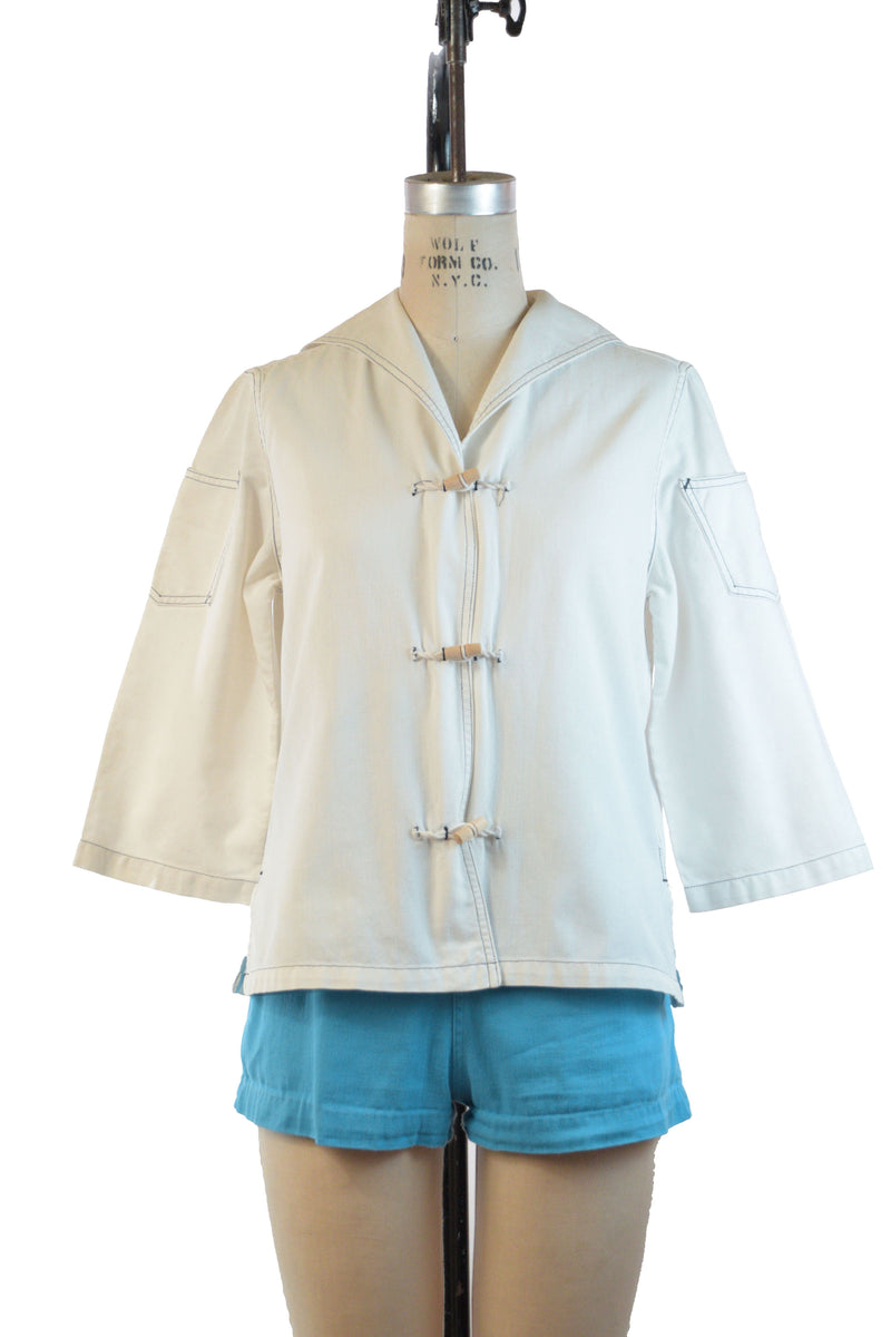 Ideal 1950s White Stag Summer Beach Jacket in White Sailcloth with Toggle Buttons
