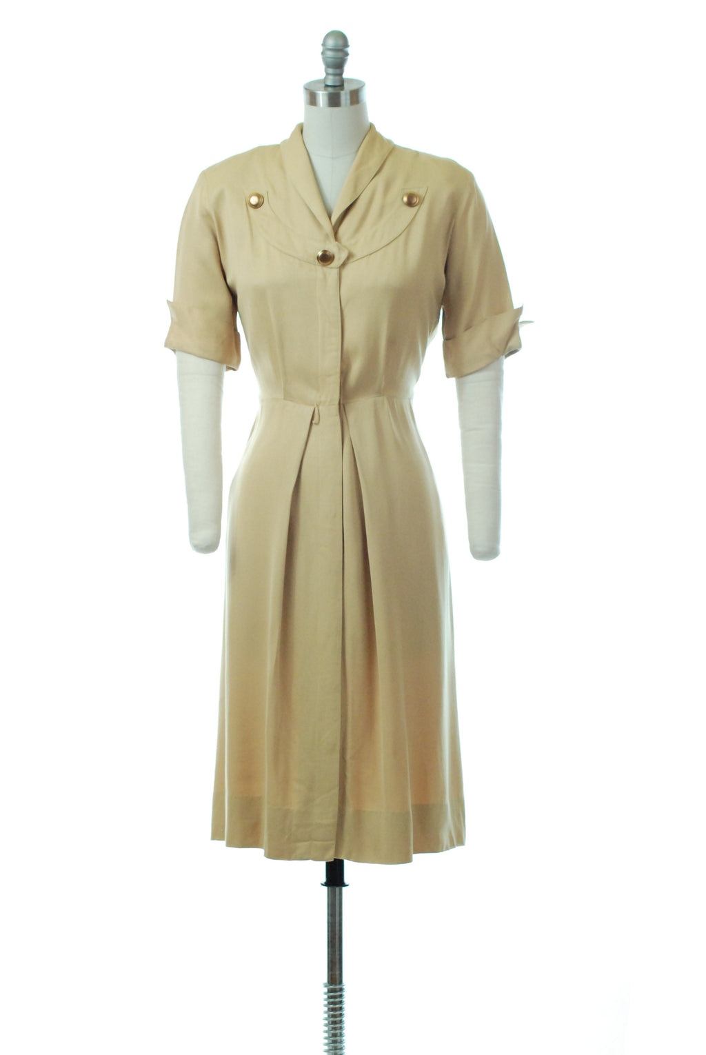Sophisticated 1940s Gabardine Day Dress in Muted Mustard Yellow