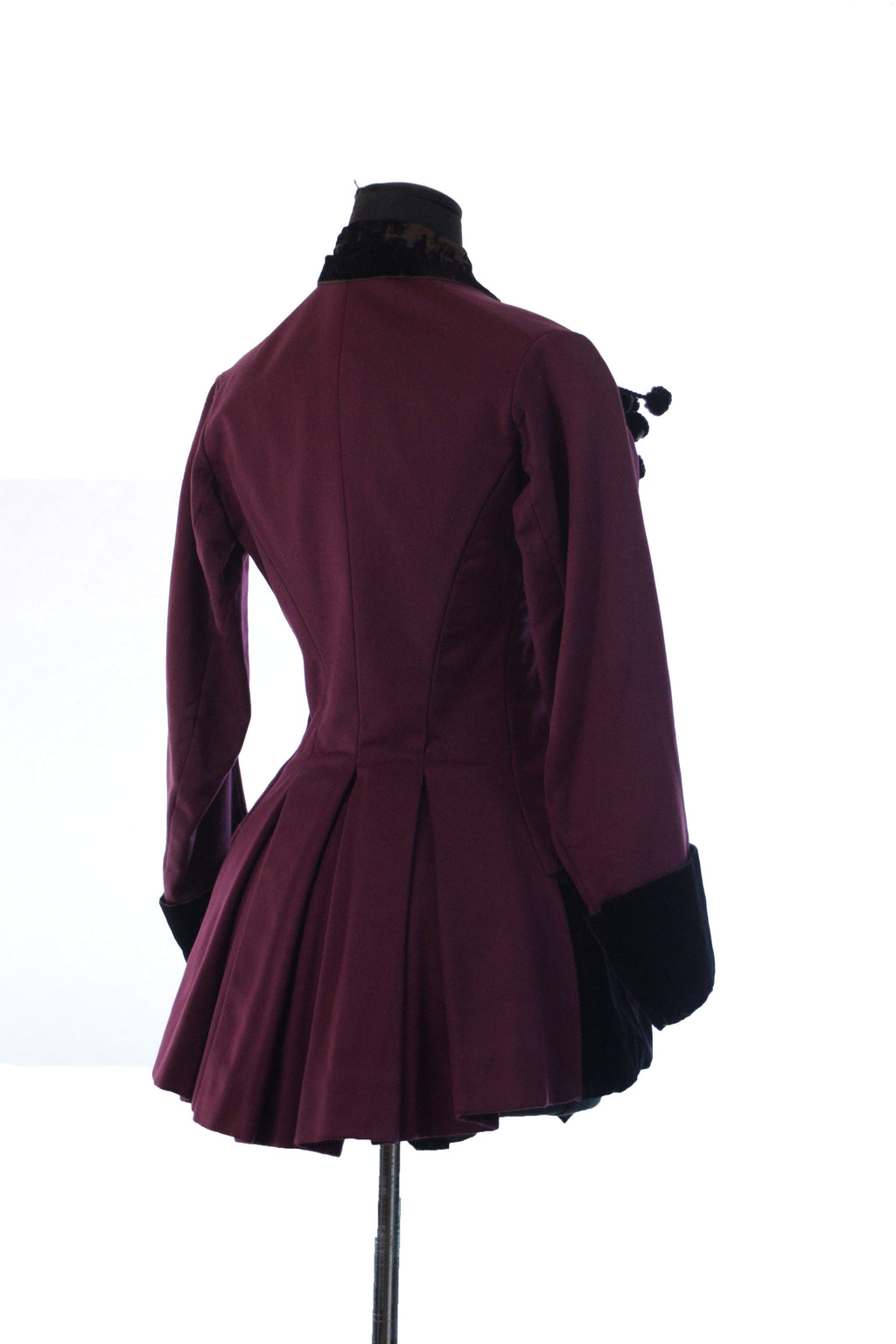 Exceptional Antique Victorian Riding Jacket in Plum Wool with Heavy Rope Trim