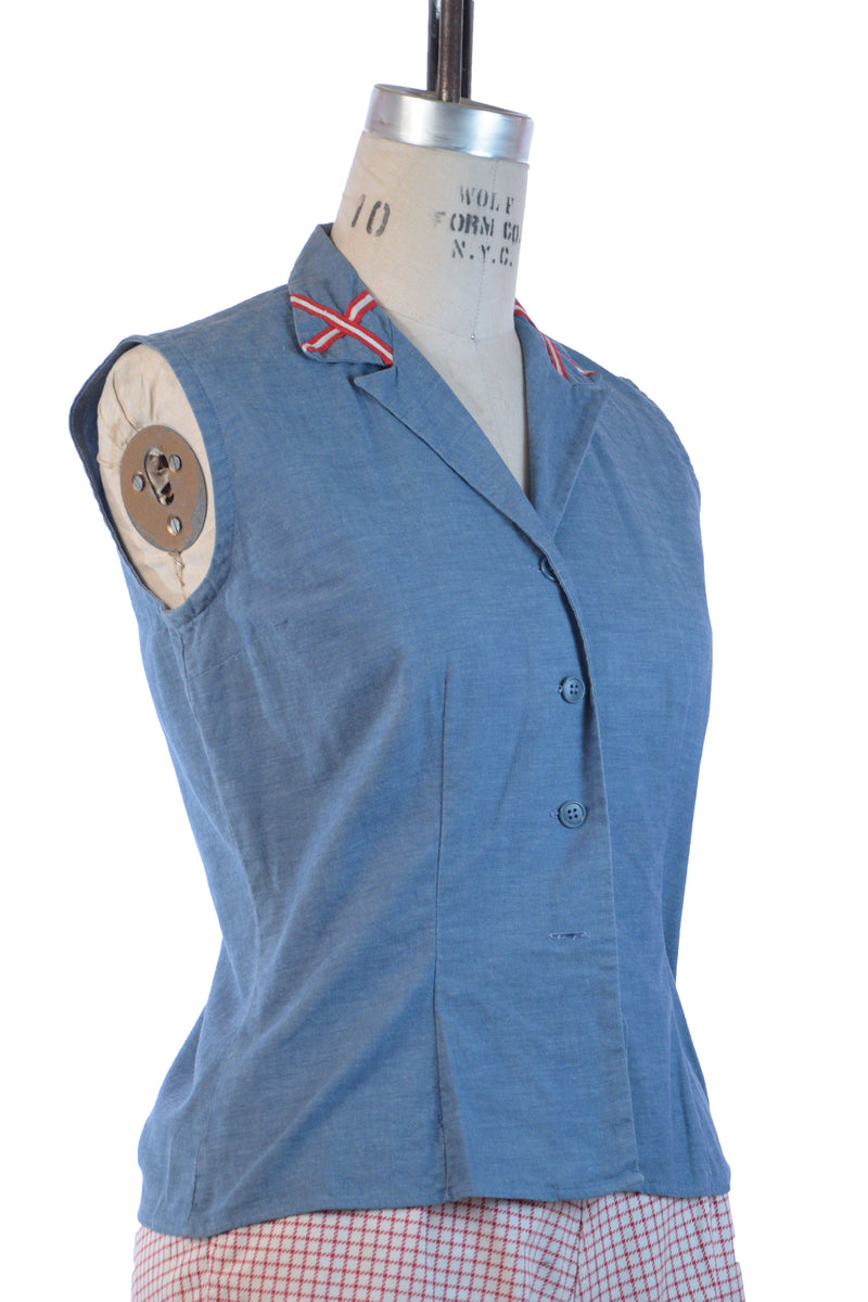 Nautical 1950s Summer Top in Chambray Blue Cotton with Red Accents