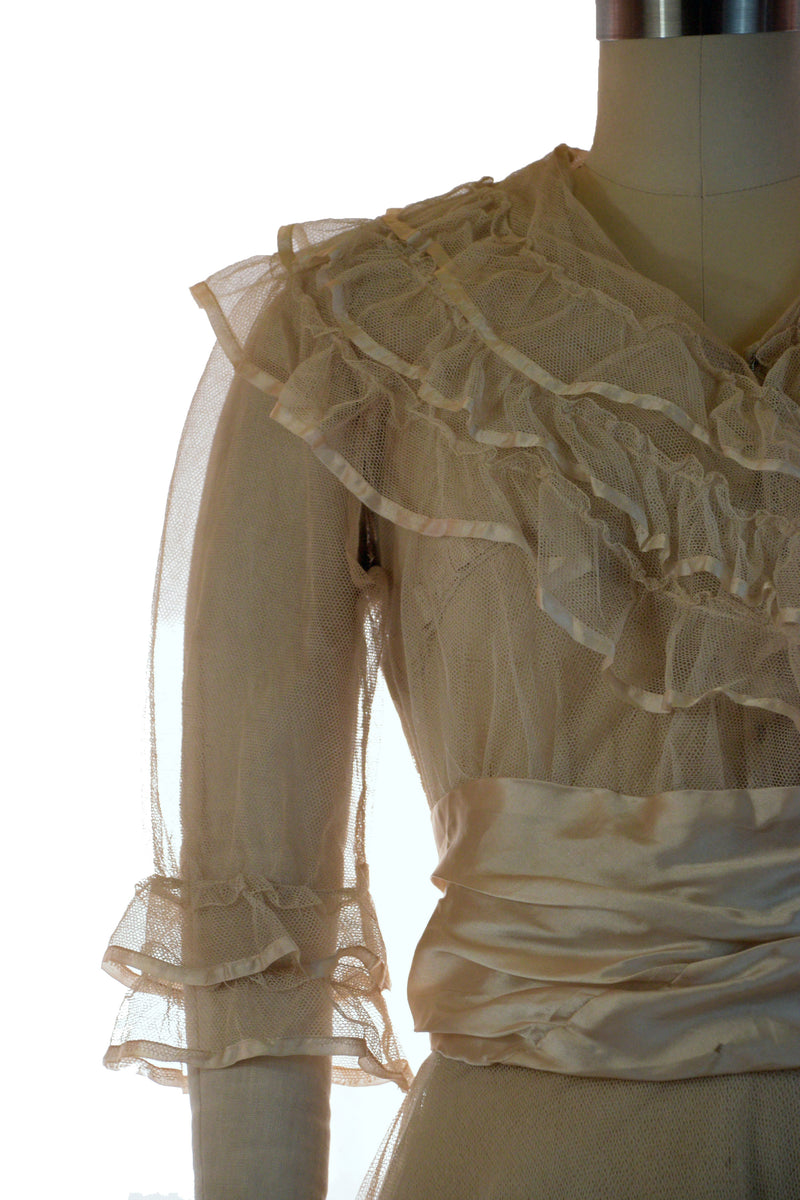 Exquisite 1910s c.1915 Sheer Tulle Net Summer Wedding Dress with Satin Satin Waist and Trim