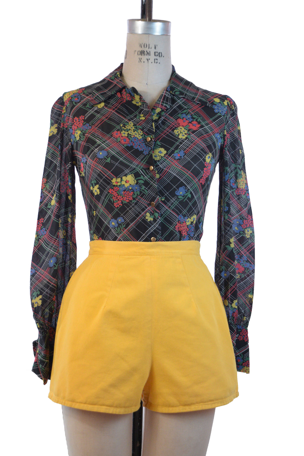 Bold 1940s Bright Yellow Cotton Sailcloth Summer Shorts Made in England