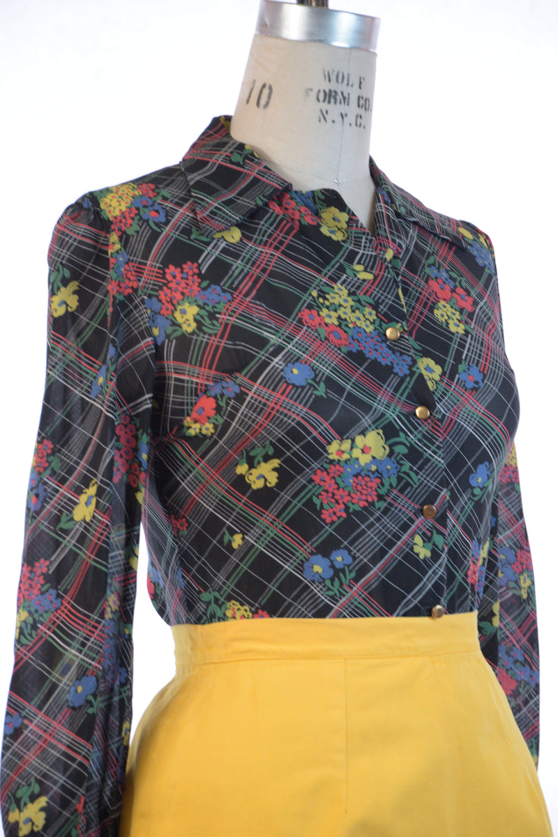 Gorgeous 1940s Semi-Sheer Rayon Blouse with Plaid and Floral Print on the Bias