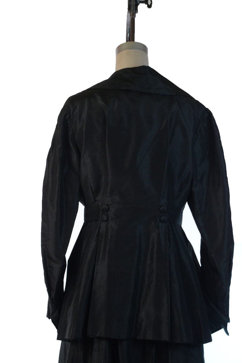 Lustrous 1910s Black Silk Walking Suit Altered to Extra Large