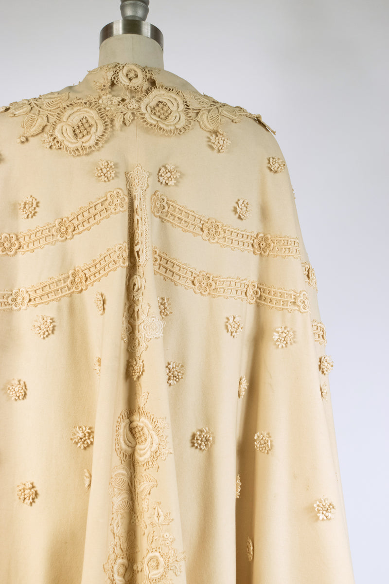 RESERVED on Layaway - Gorgeous Antique Early 1900s A Wool Cape with Venice Gros Point Lace Applique