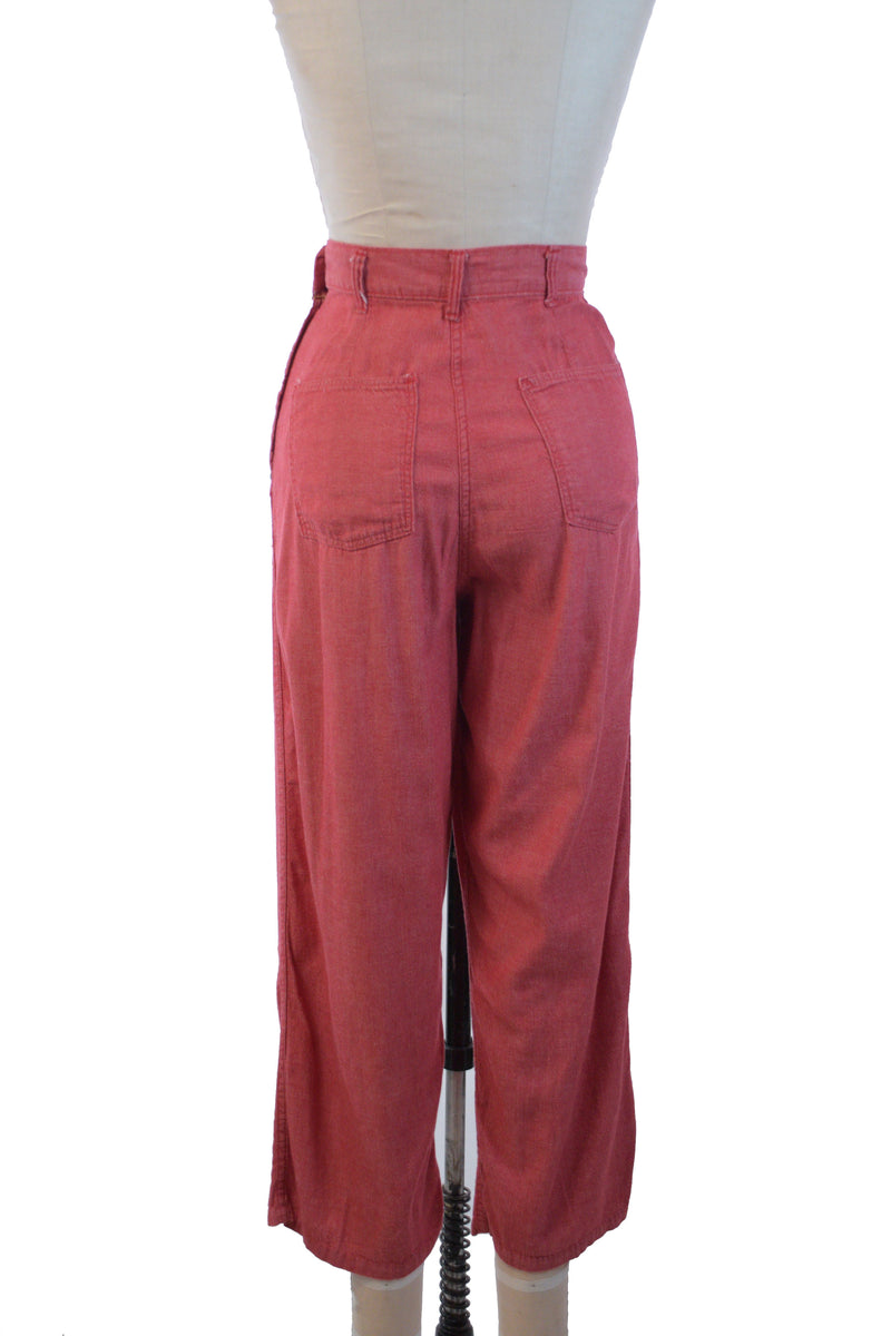 Soft 1950s Pink-Red Denim Jeans by Kitty Carson, Perfect with Cuffs!