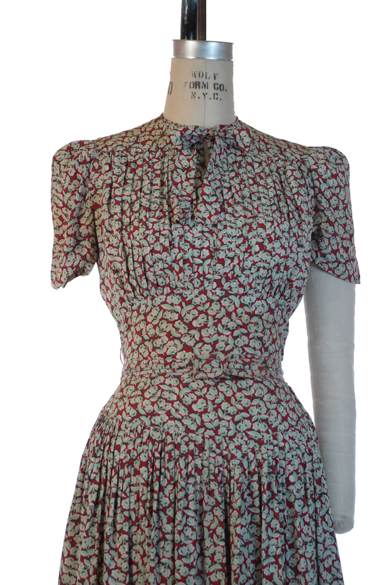 RARE Late 1930s Incredible Rayon Two Piece Caped Dress Set with Red Cape and Sage Green Floral