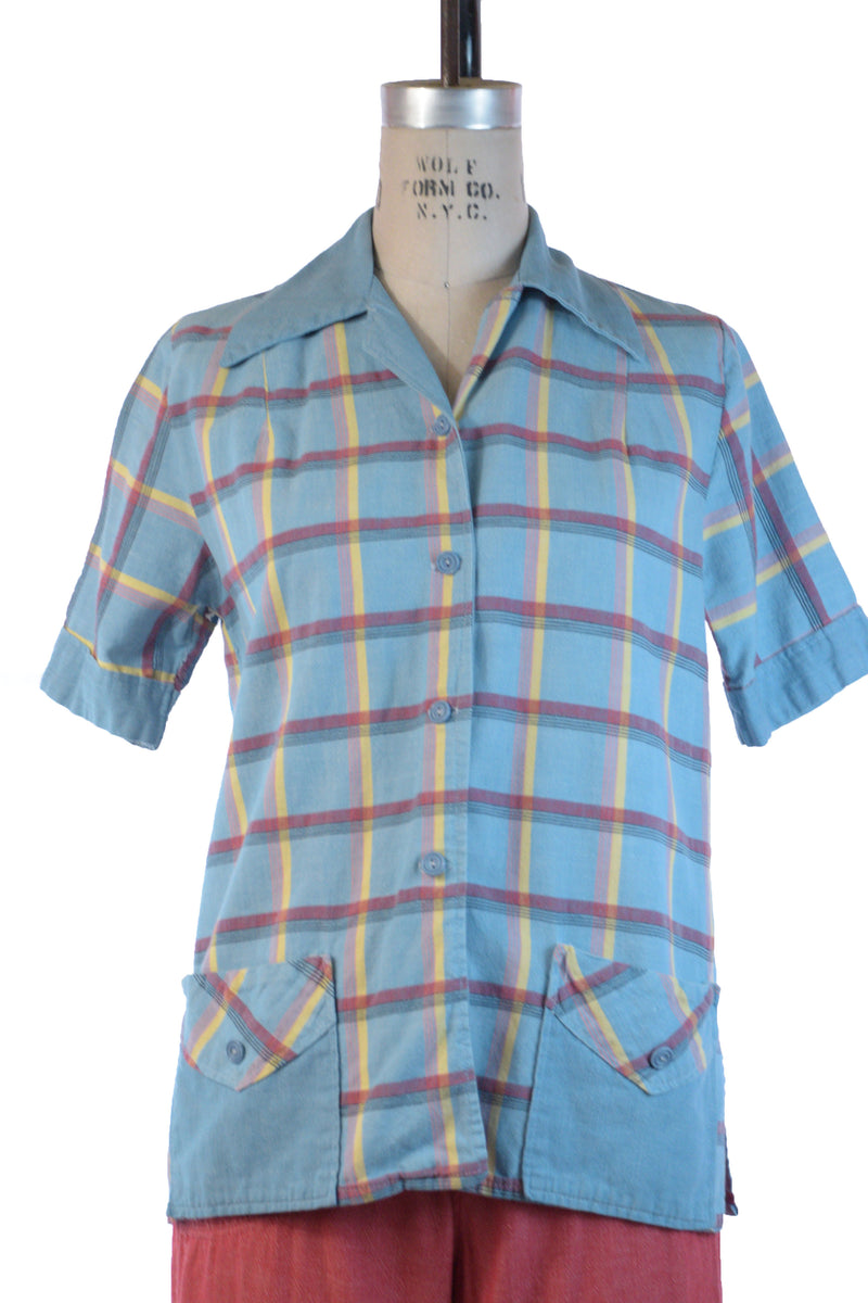 Sporty 1950s Summer Short Sleeve Top or Beach Jacket in Cotton Plaid with Pockets