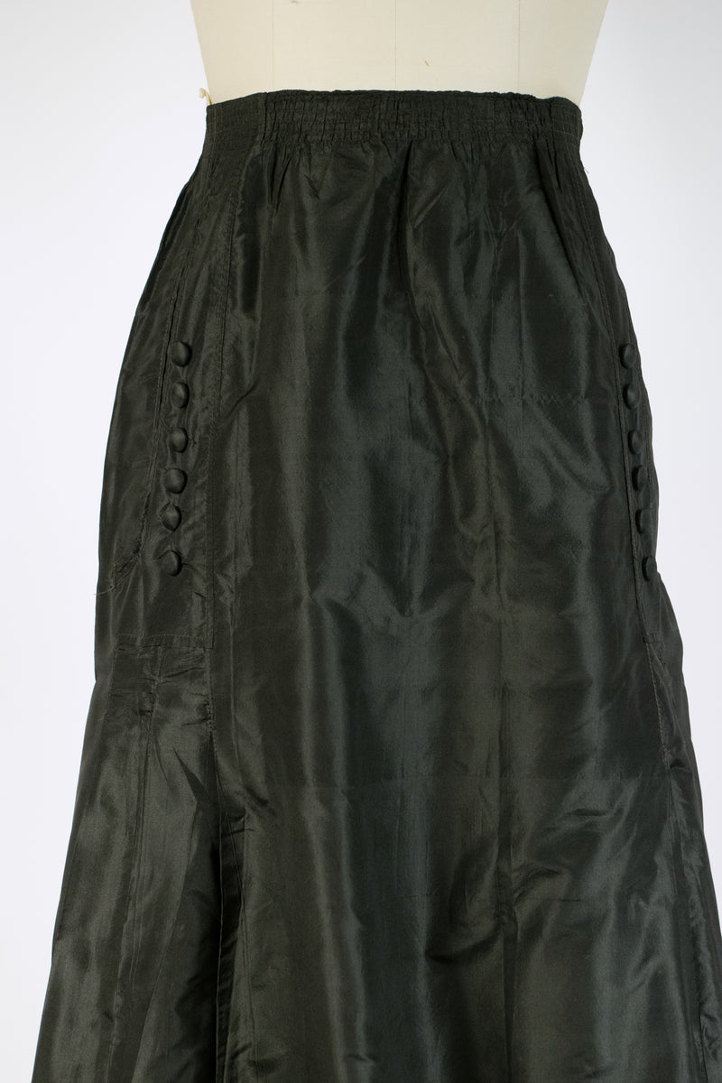 Classic 1910s Silk Skirt with Shirred Waist and Button Accents