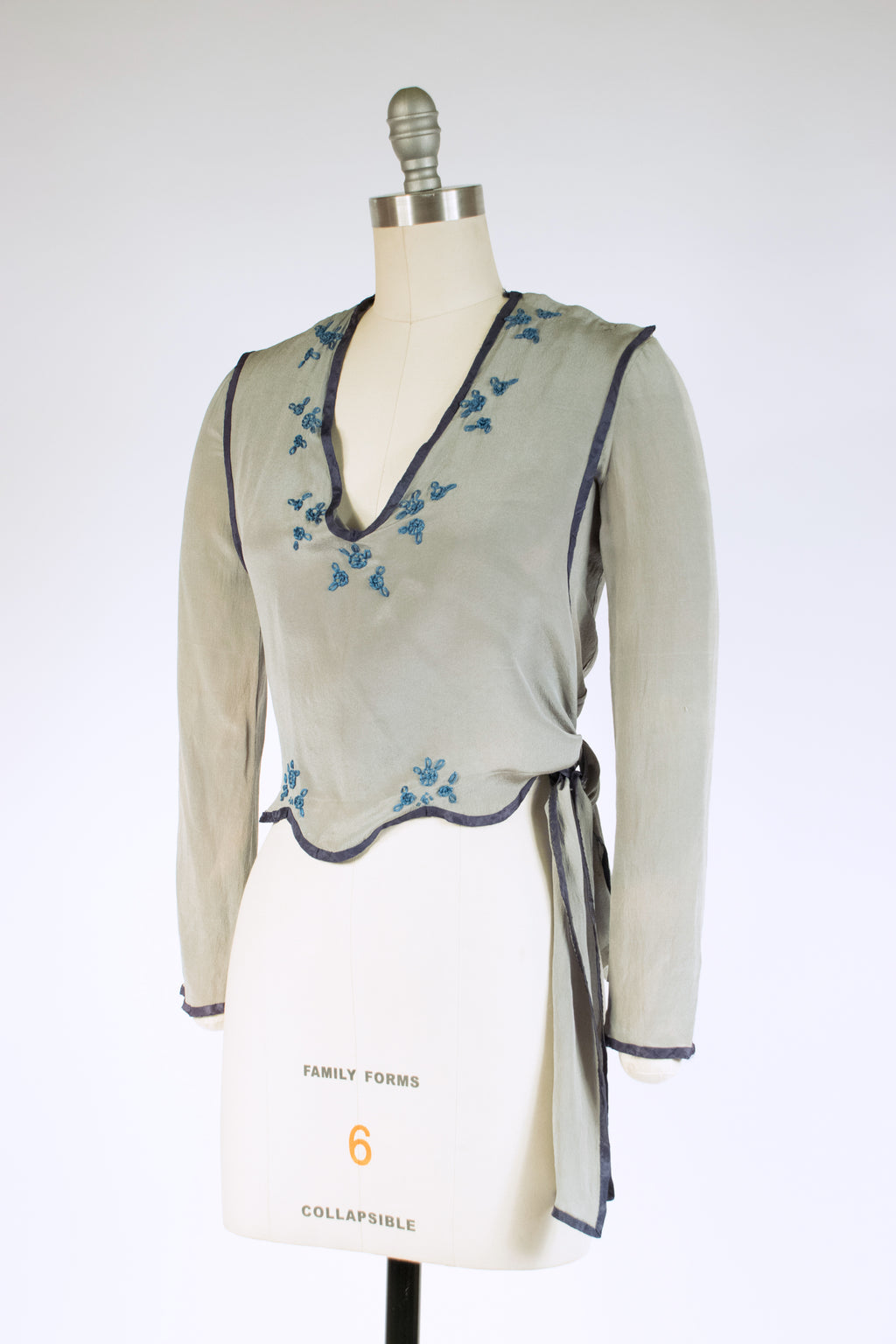 Gorgeous 1910s Grey-Blue Silk Blouse with Blue Accents and Wrap Ties