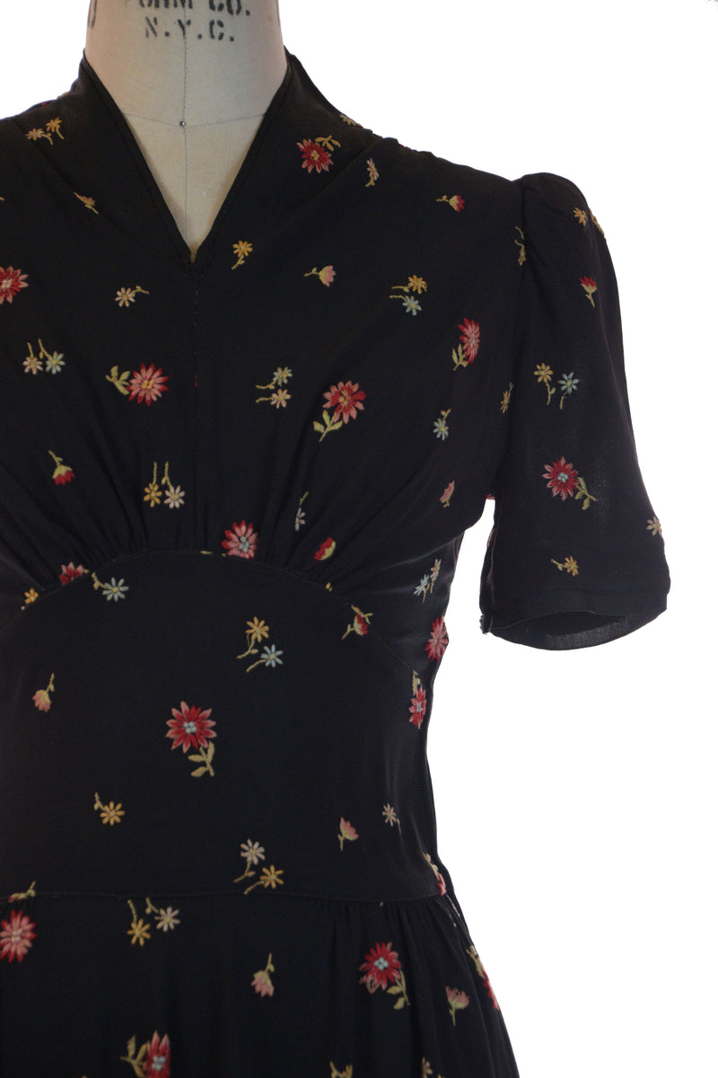 Darling Late 30s/Early 1940s Summer Goth Black Puff Sleeve Dress with Embroidered Flowers