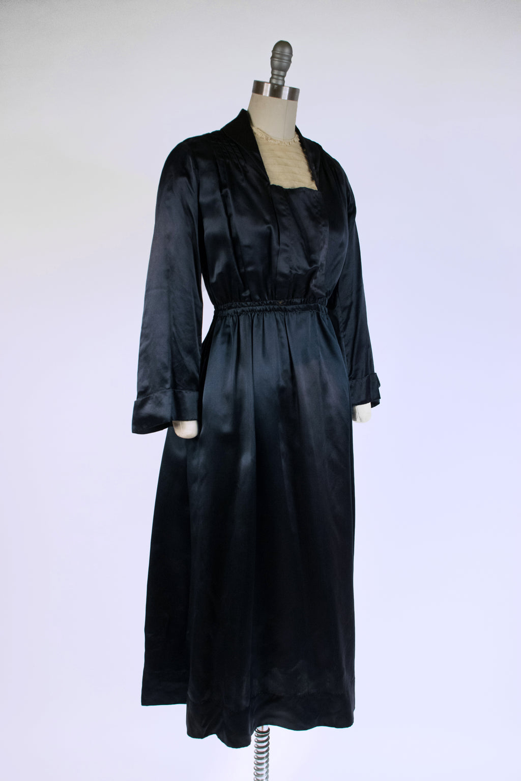 Lustrous 1910s Silk Satin Dress of Dark Navy Blue