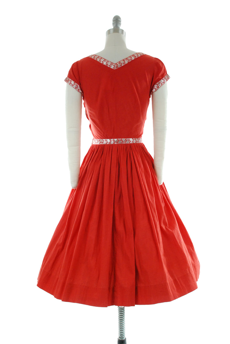 Classic 1950s Patio Dress of Red Cotton Gauze with Metallic Silver Trim