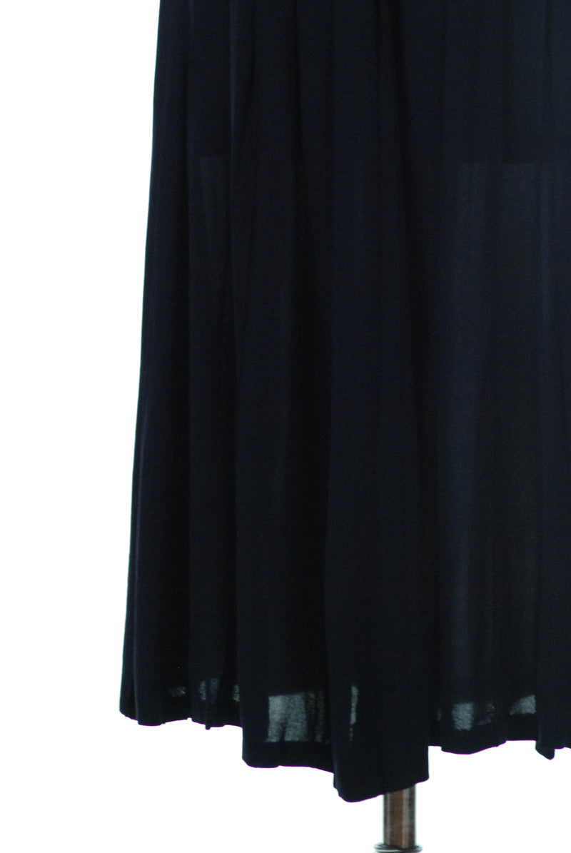 Fantastic 1940s Rayon Skirt with Ultra Wide Waistband and Pleats