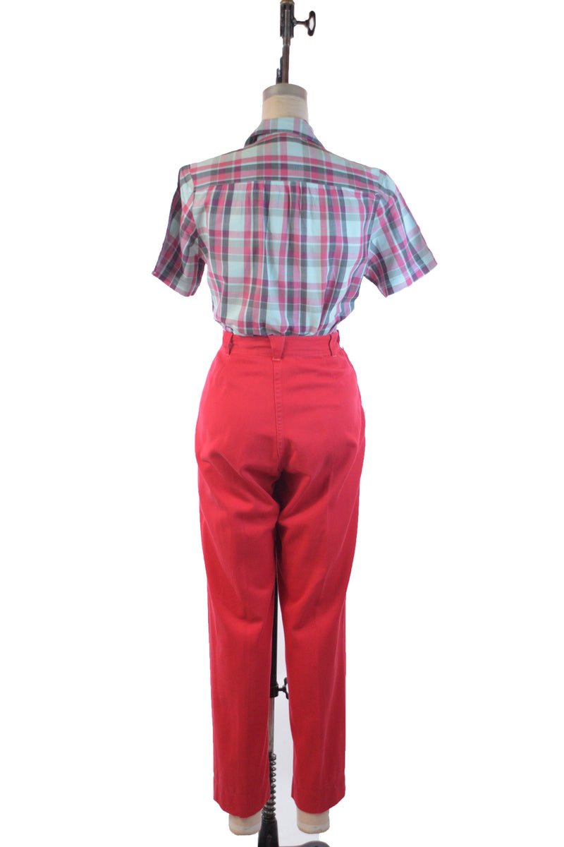 Sassy 1950s Saturated Red Western Girl Brand Casual Western Pants in Red Cotton Twill