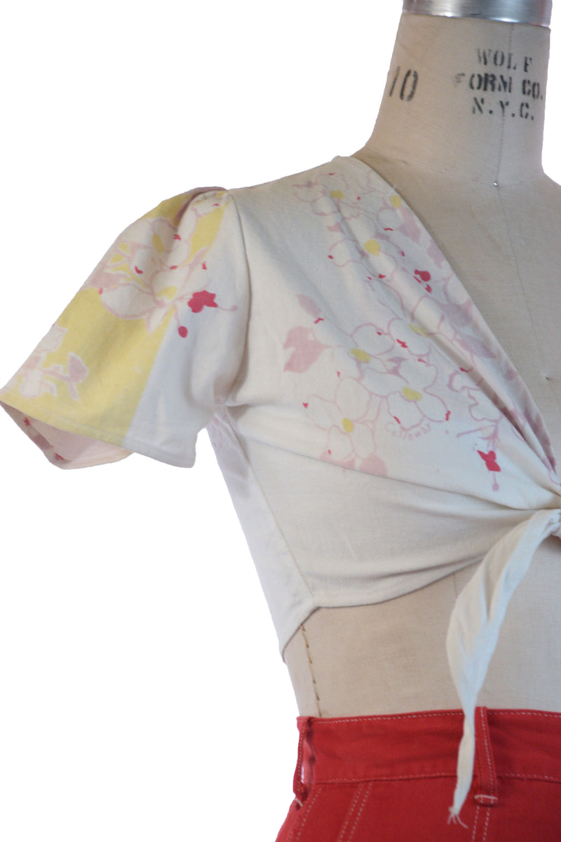 Scarce 1940s Summer Tie Top Made in Era of Printed Tablecloth Cotton
