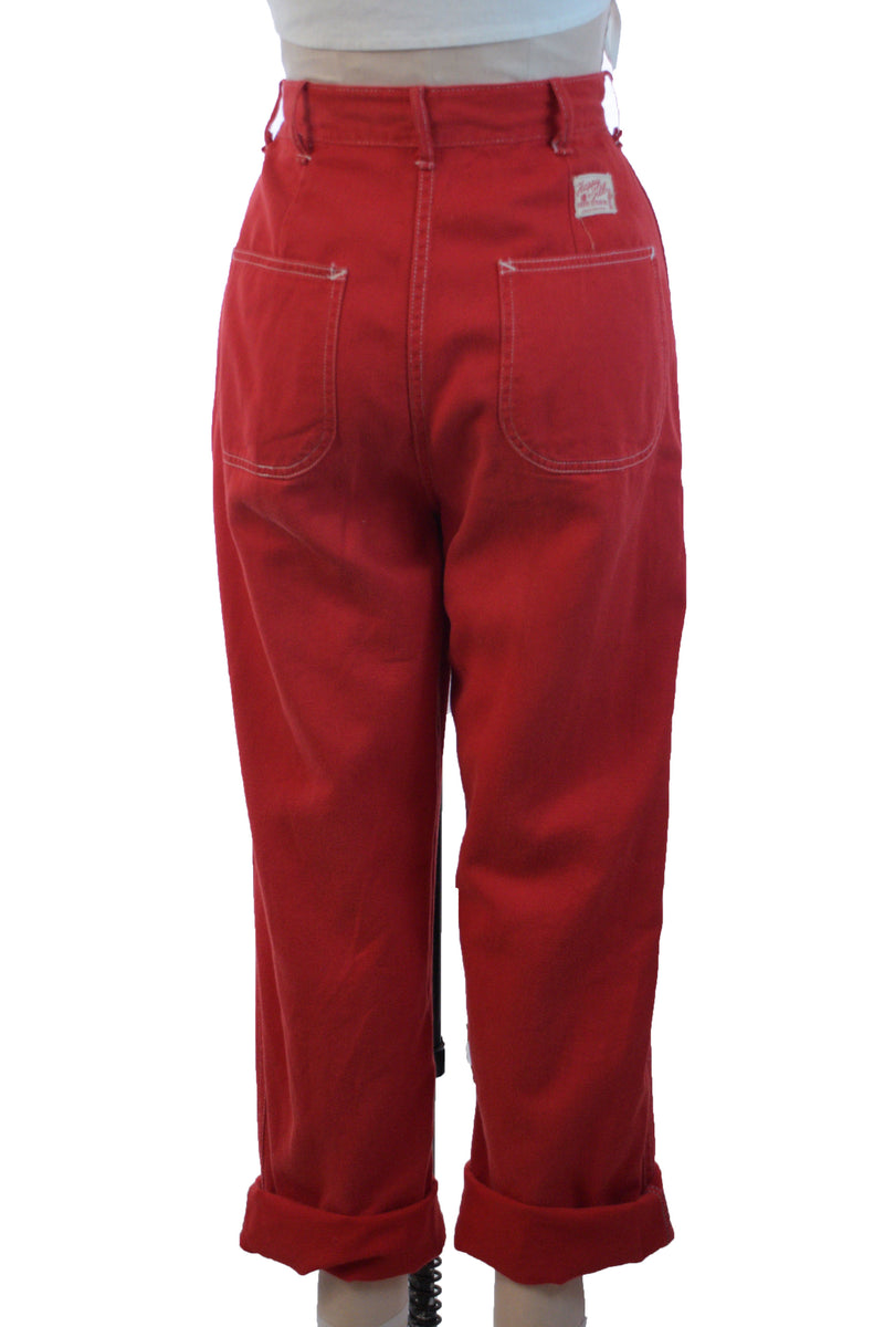 Sporty 1950s Bright Red Jeans with White Top Stitching