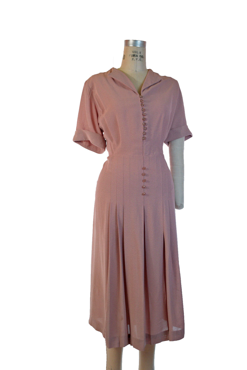RESERVED ON LAYAWAY Fantastic Late 1930s Zip Front Dress in Brown with Swiss Dots Wartime Day Dress