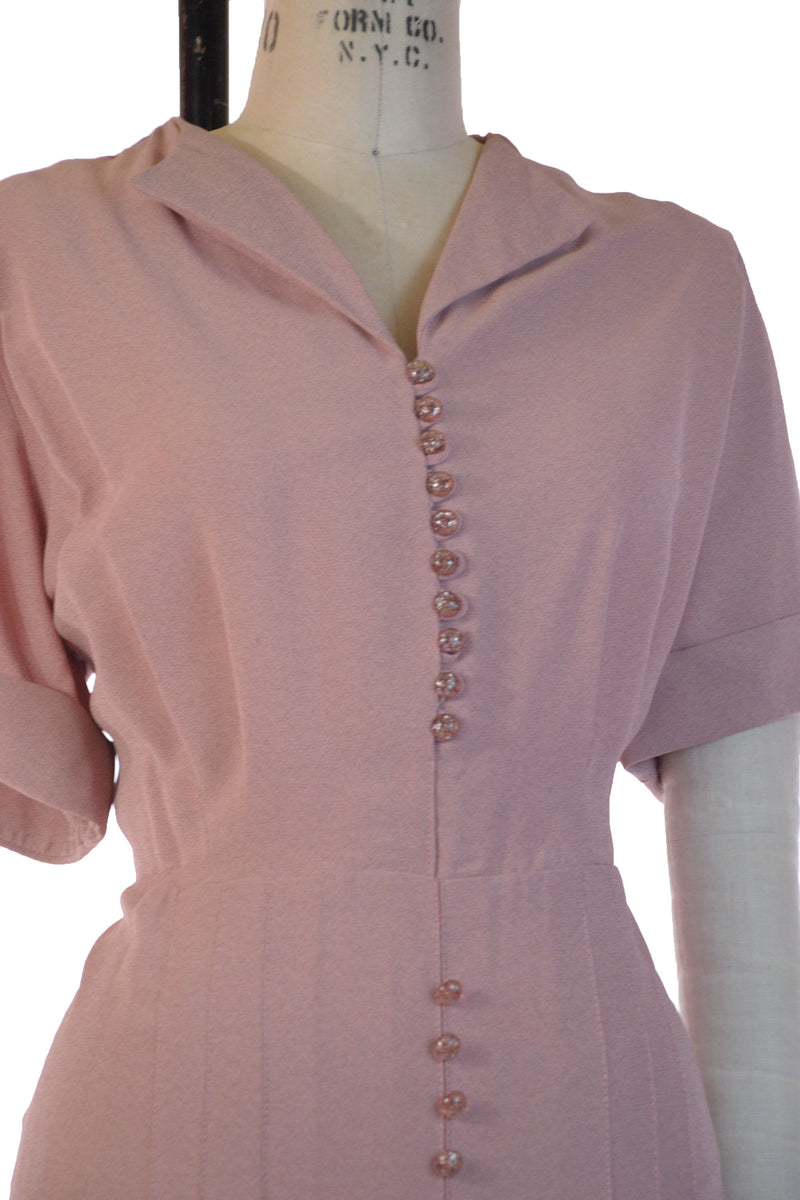 Smart 1940s Heathered Pink Day Dress in Volup XXL