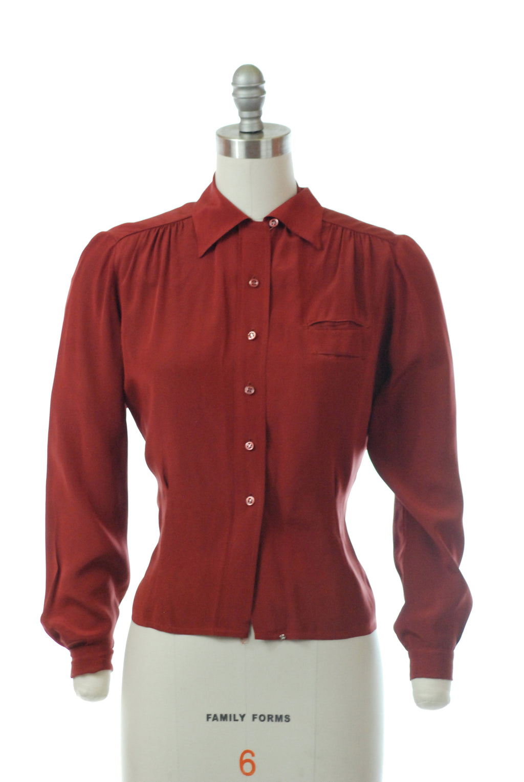 Gorgeous 1940s Paprika Red Long Sleeve Blouse