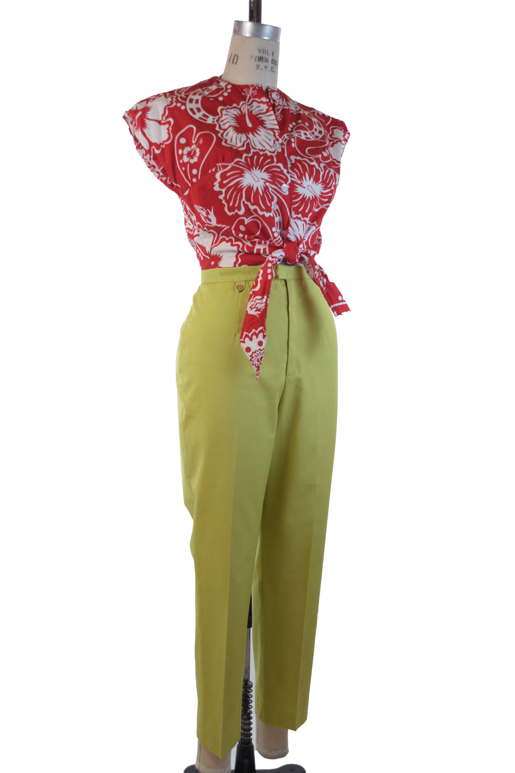 Bright 1960s Cigarette Pants in Saturated Green Chartruese