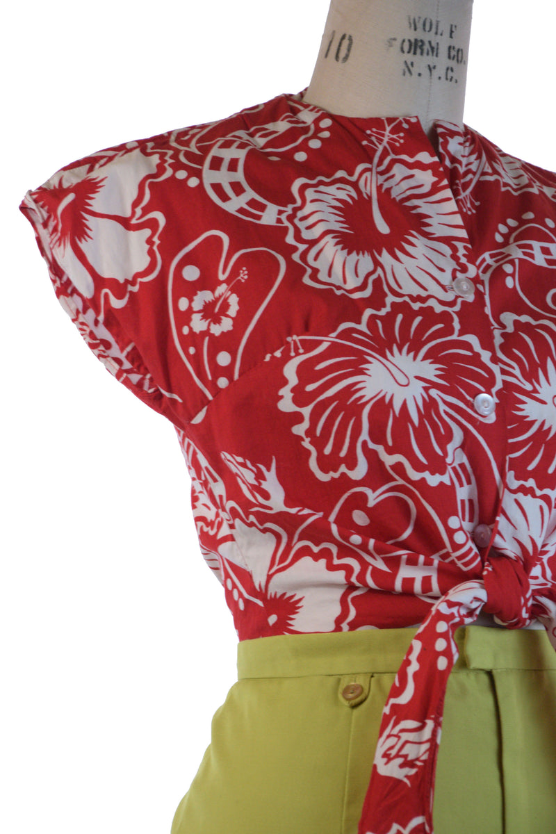 Saturated 1950s Homemade Red Cotton Hawaiian Tie Front Blouse with Shirttails