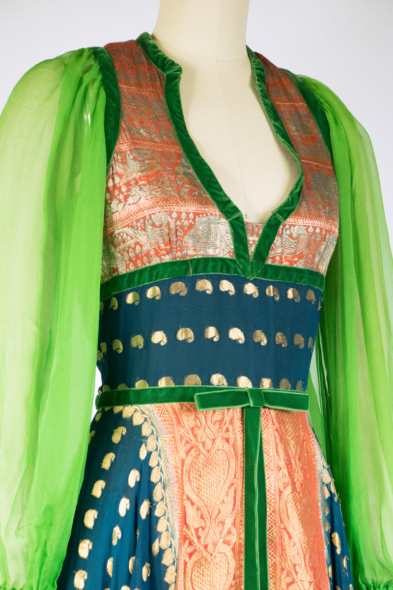 Exceptional Early 1970s Thea Porter Bohemian Dress of Silk Chiffon and Indian Brocade