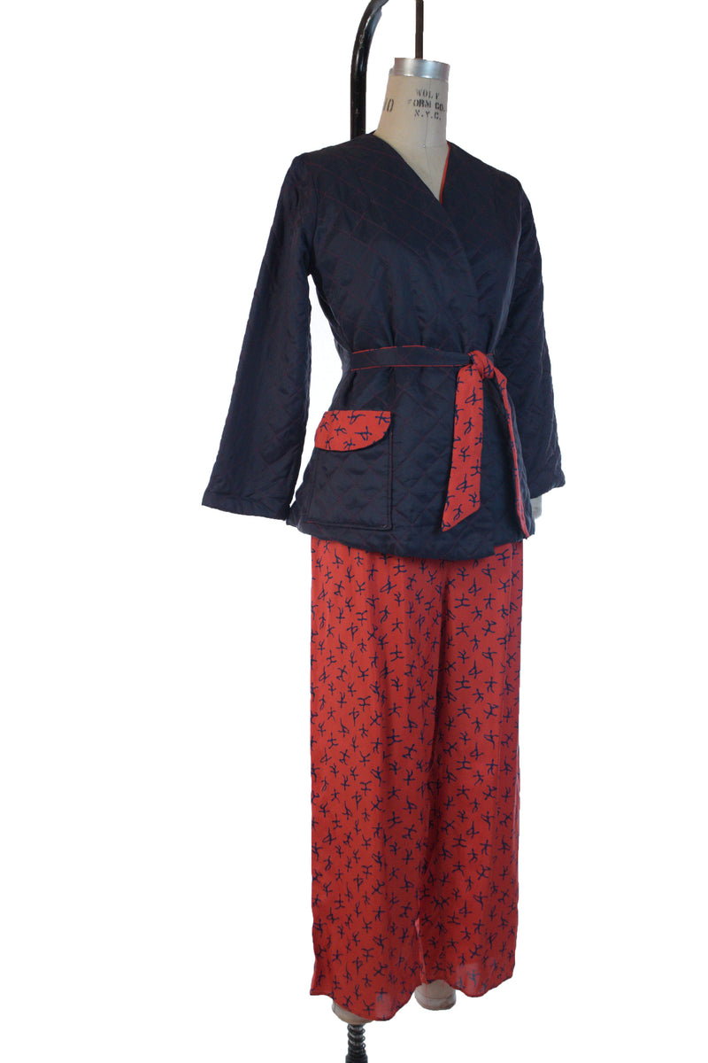 Comfy 1940s Tailored Pajama Set with Novelty Print Pants and Quilted Wrap Jacket