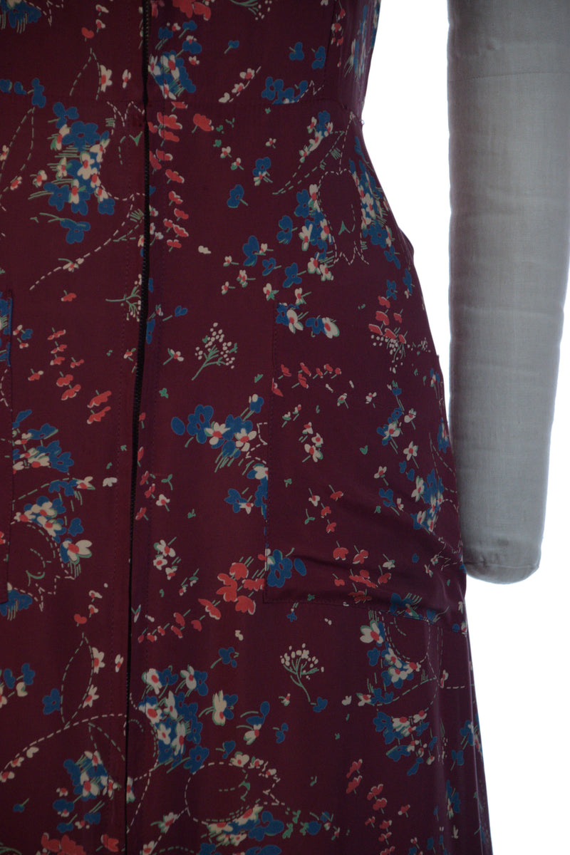Slippery 1940s Cold Rayon Zip Front Dress Gown in Burgundy with Floral Print