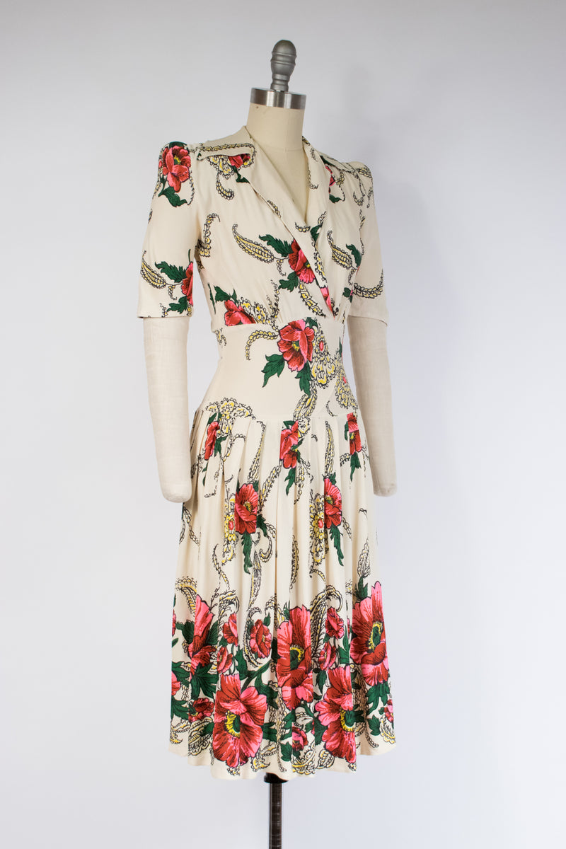 Brilliant Late 1930s Rayon Jersey Dress with Bold Border Print Poppy Floral