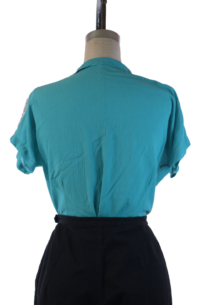 Classic 1950s Patio Blouse in Bright Turquoise Blue with Silver and White Accents