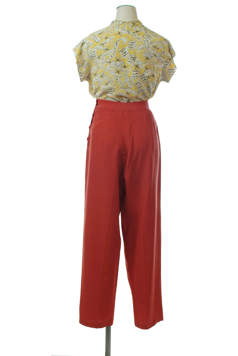 Killer 1940s Paprika Red High Waist Slacks with Side Buttons