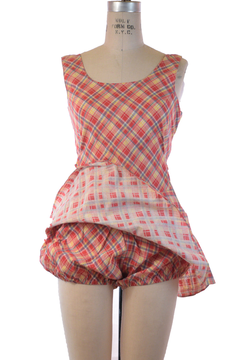 Cute 1930s Cotton Plaid Playsuit with Built in Bottoms and Flirty Skirt by Antēme Fruit of the Loom