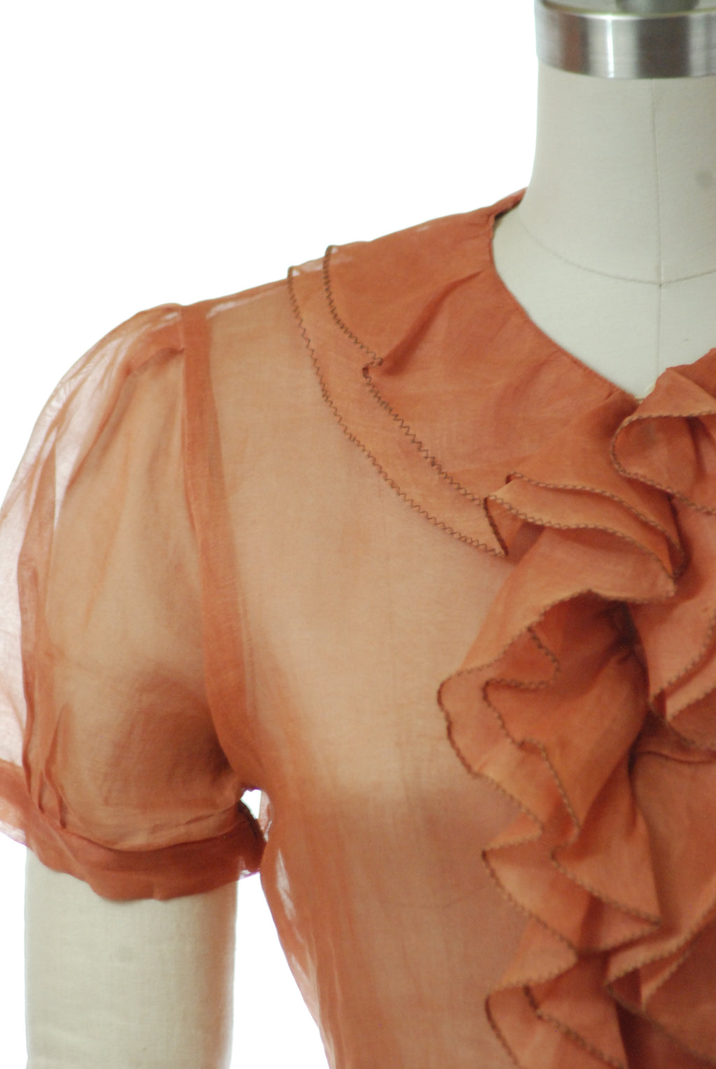 Lovely 1930s Sheer Blouse with Ruffled Jabot in Pumpkin Colored Organza